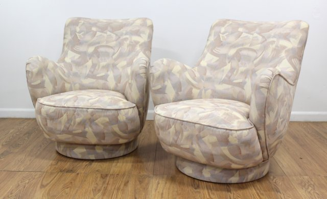 Directional Upholstered Swivel Club Chairs