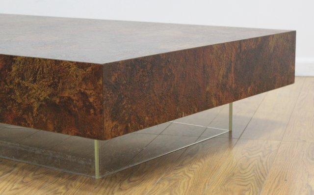 :Thayer Coggin Textured Veneered Coffee Table - 3