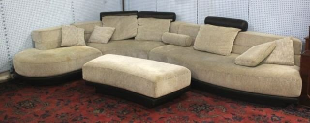 :Kagan Style Woven Wool & Leather Sectional Couch