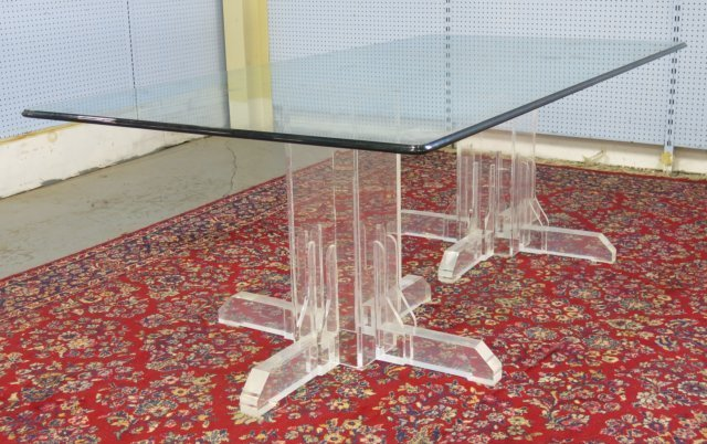 :Glass Top Lucite Base Table
