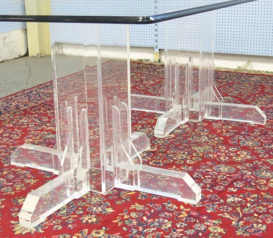 :Glass Top Lucite Base Table - 3