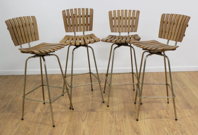 Set 4 Mid Century Teak & Brass Swivel Bar Stools