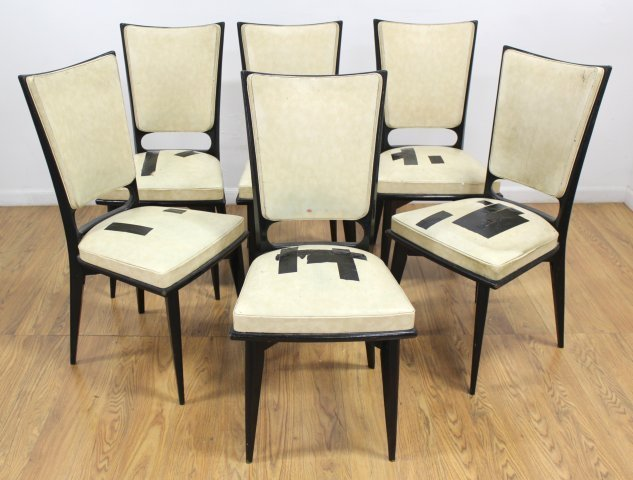 Set 6 Mid Century Black Lacquered Dining Chairs