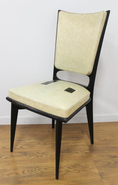 Set 6 Mid Century Black Lacquered Dining Chairs - 2