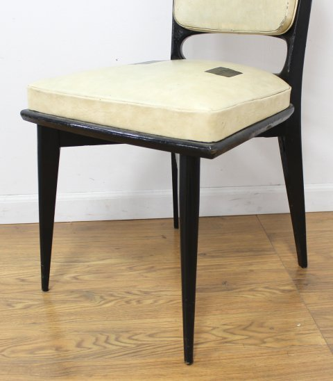 Set 6 Mid Century Black Lacquered Dining Chairs - 3