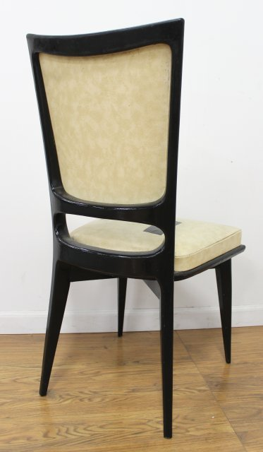 Set 6 Mid Century Black Lacquered Dining Chairs - 4