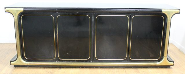Mastercraft Brass Mounted Black Lacquer Sideboard