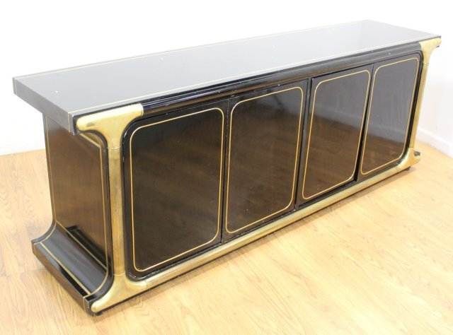 Mastercraft Brass Mounted Black Lacquer Sideboard - 2