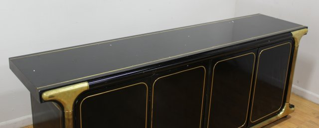 Mastercraft Brass Mounted Black Lacquer Sideboard - 3