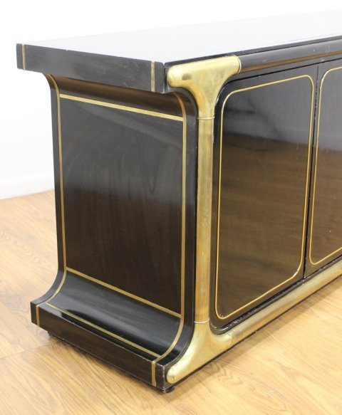 Mastercraft Brass Mounted Black Lacquer Sideboard - 4