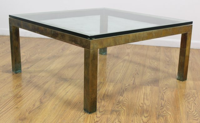 70s Brass Coffee Table with Glass Top