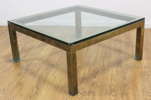 70s Brass Coffee Table with Glass Top - 2