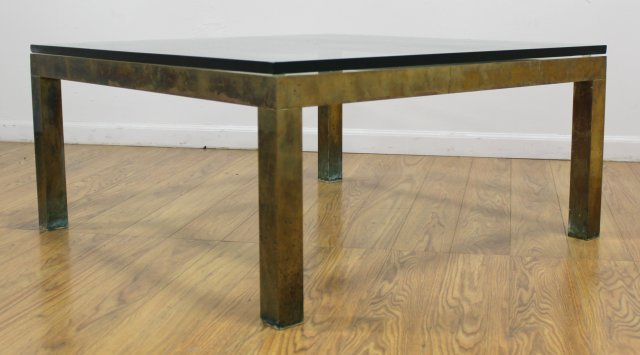 70s Brass Coffee Table with Glass Top - 3