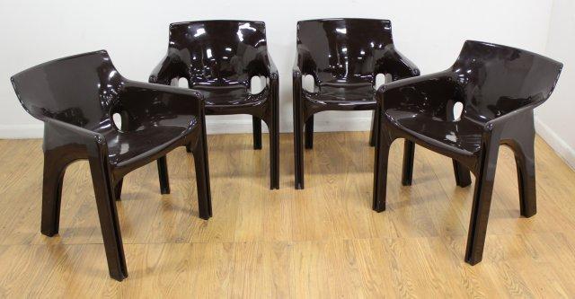 Set 4 Italian Resin Armchairs by Vico Magistretti