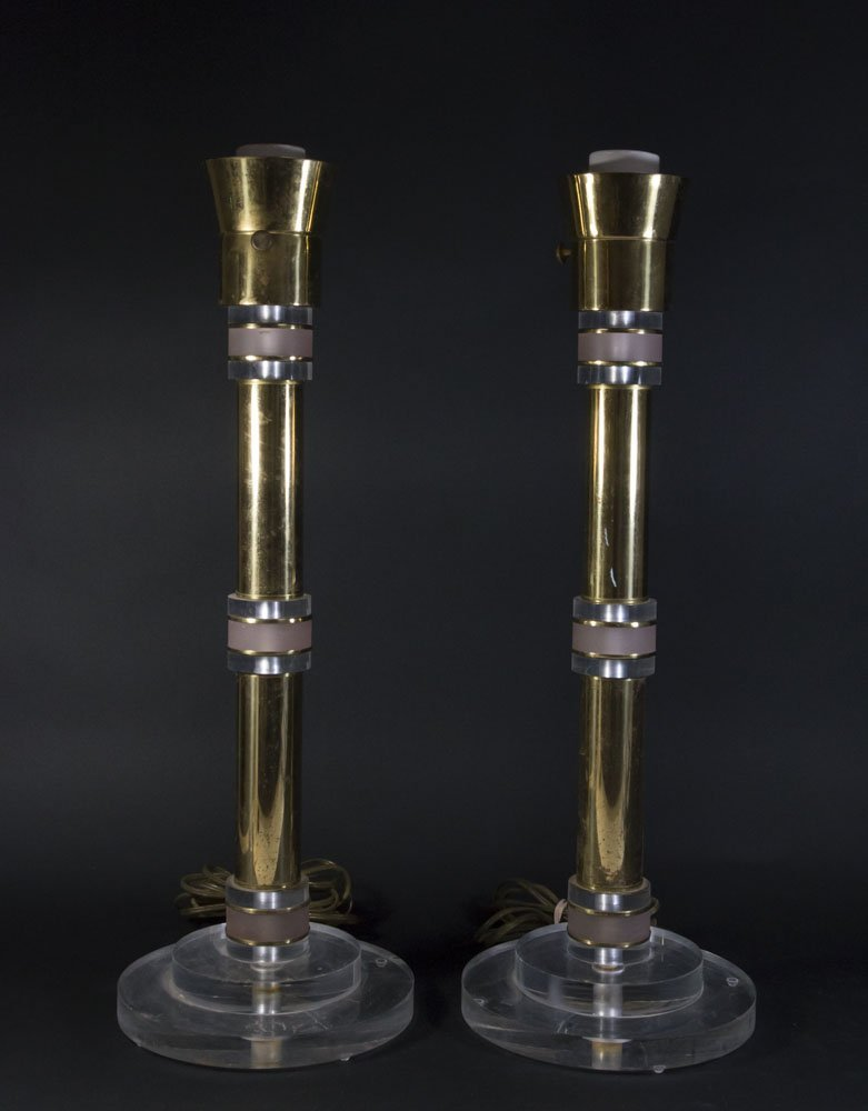 Pair Parzinger Style Gold Chrome & Lucite Lamps