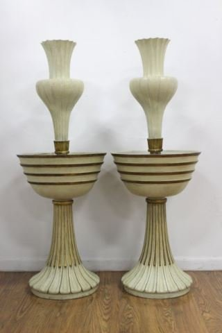 :Pr French 40s Parcel Gilt White Painted Torchères