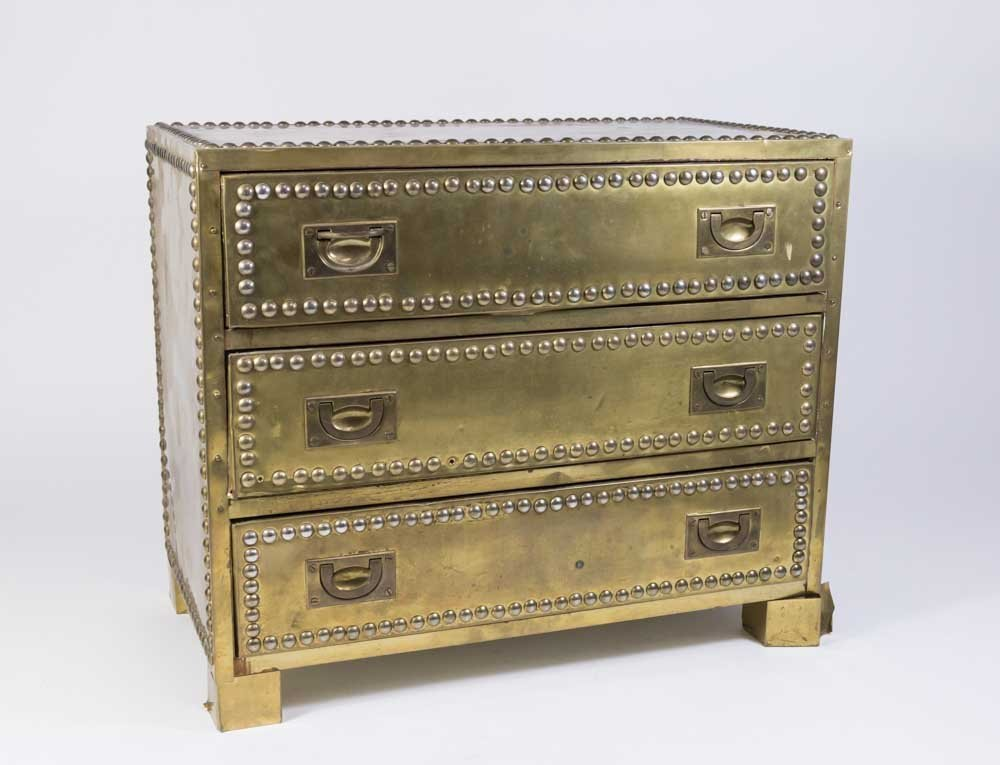70s Brass Veneered Jewelry Chest