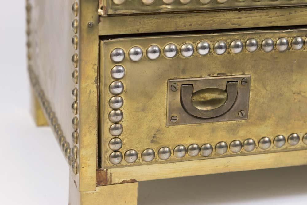 70s Brass Veneered Jewelry Chest - 2