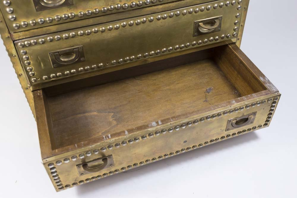 70s Brass Veneered Jewelry Chest - 3