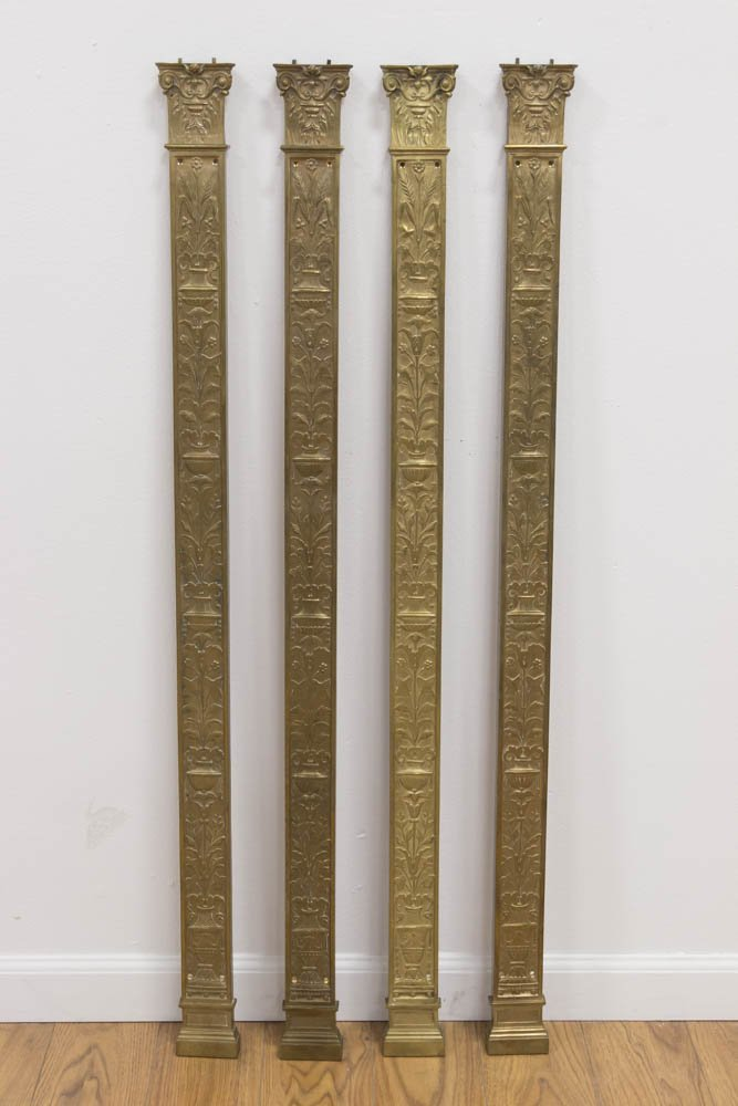 4 Gilt Bronze Pilaster Wall Mounts