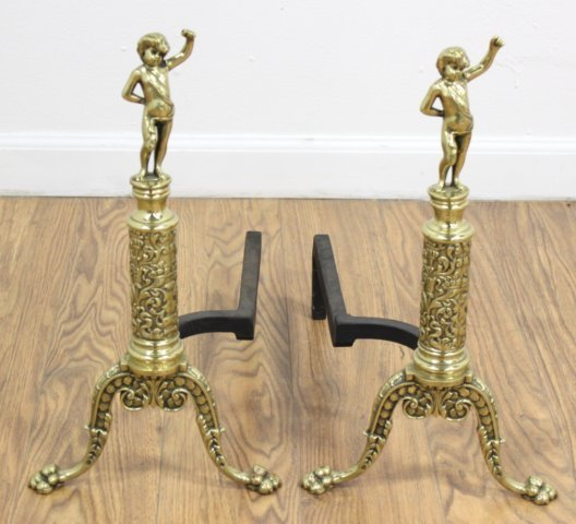 Pair Brass Andirons with Putti