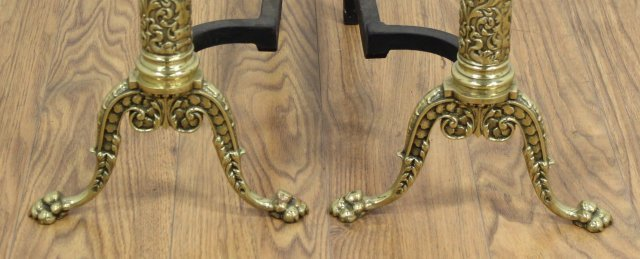 Pair Brass Andirons with Putti - 3