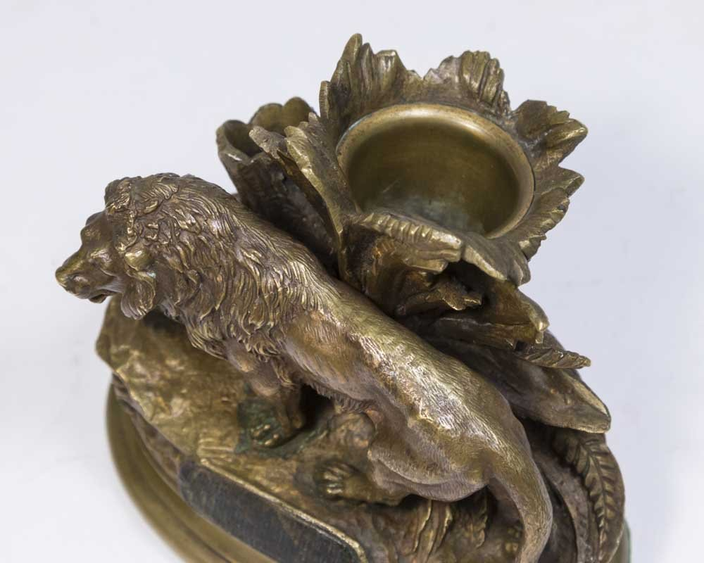 Bronze Lion Match Holder - 3
