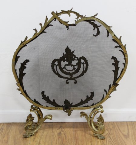 Contemporary Brass French Style Fire Screen - 3