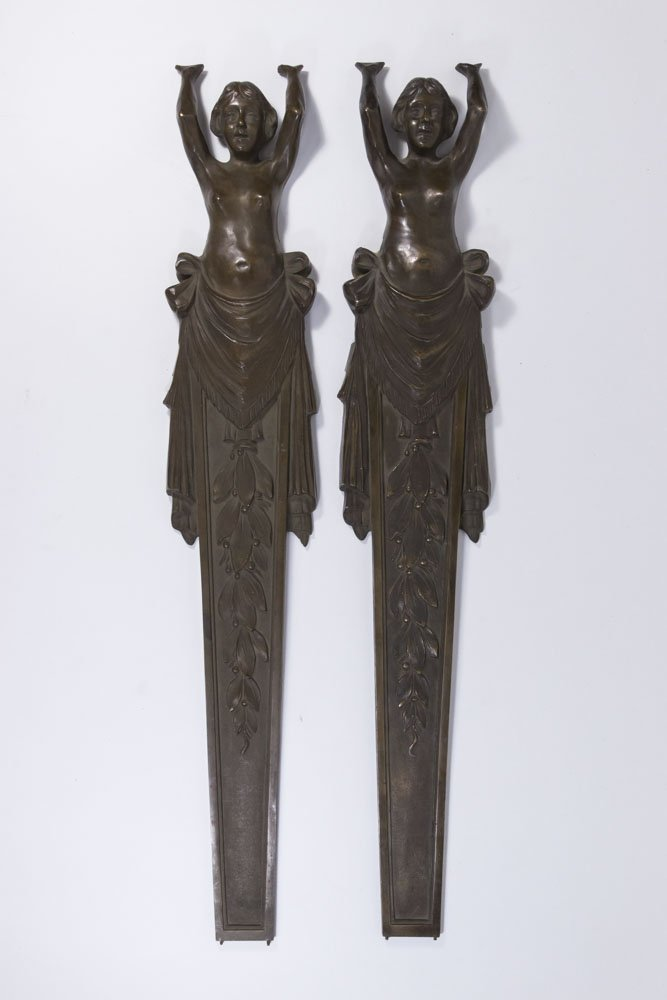 Pair 19th-20th Century Bronze Figural Mounts