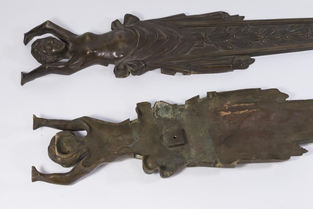 Pair 19th-20th Century Bronze Figural Mounts - 4