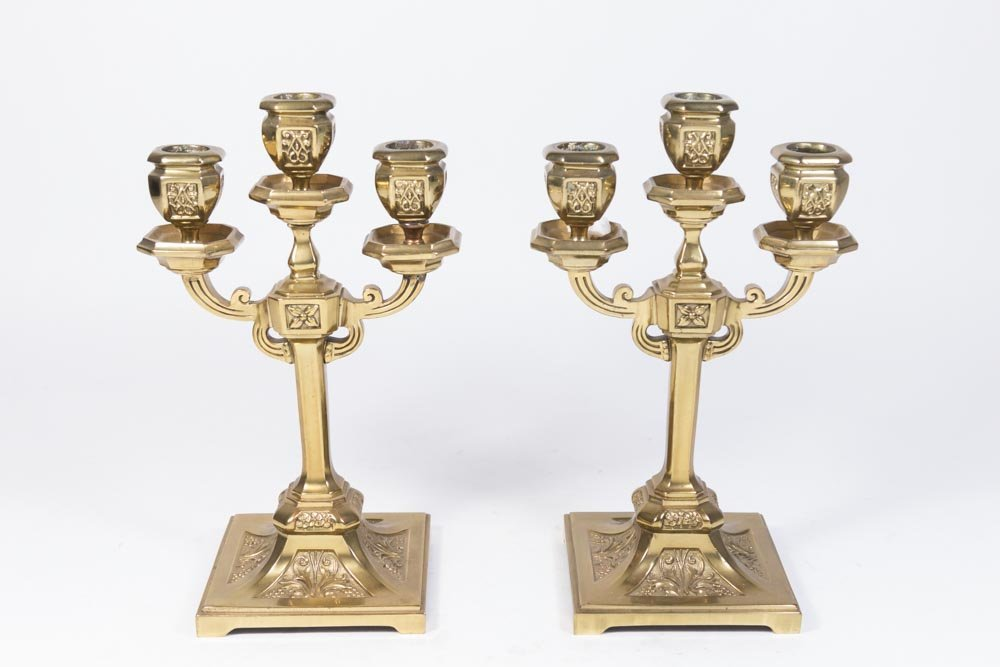 Pair 3-Arm Bronze Floral Decorated Candelabra
