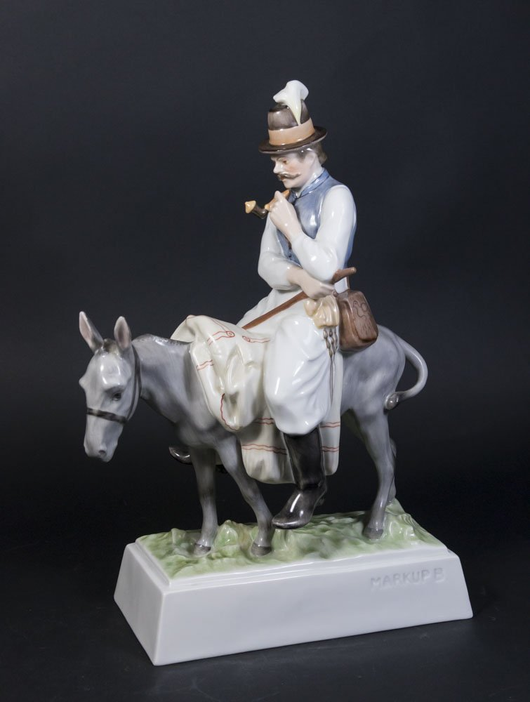 Herend Figure of Man on Donkey