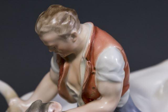 :Herend Porcelain Grouping of Man & Bull - 3