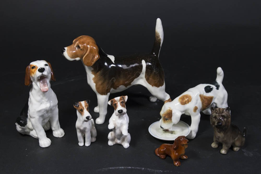 7 Porcelain Dog Figurines