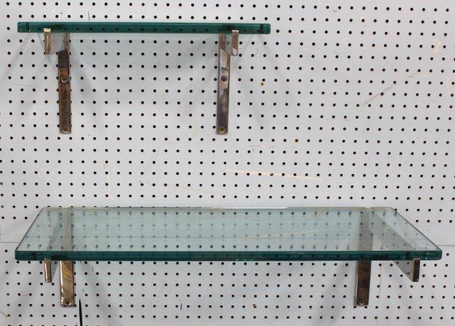 2 Off-Set Chrome & Glass Wall Shelves
