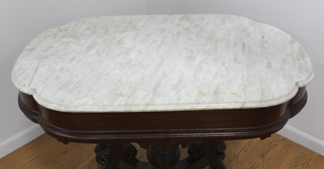 Marble Top Center Table with Floral Design Base - 3
