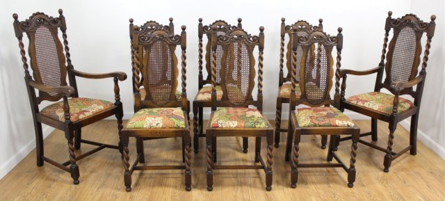 Set 8 Carved Walnut Cane Back Chairs