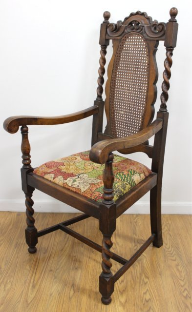 Set 8 Carved Walnut Cane Back Chairs - 2