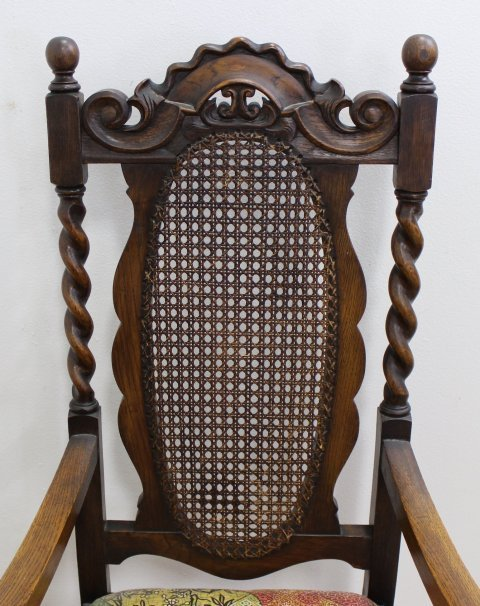 Set 8 Carved Walnut Cane Back Chairs - 3
