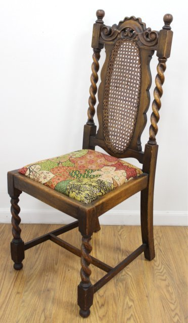 Set 8 Carved Walnut Cane Back Chairs - 4