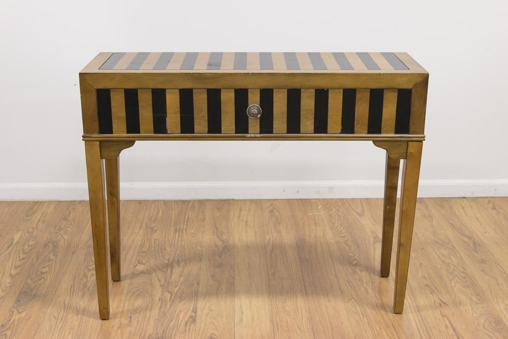 Neoclassic Style Gold & Black Painted Hall Console