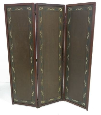 :Arts & Crafts 3-Section Leather Screen