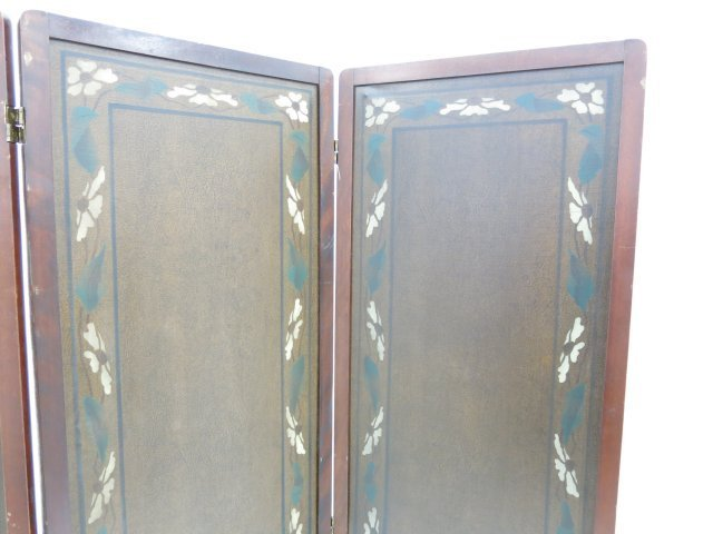 :Arts & Crafts 3-Section Leather Screen - 2