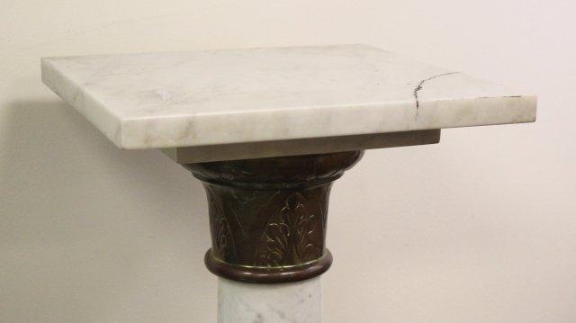 White Marble & Bronze Column Pedestal - 2