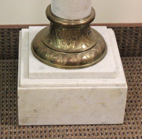 White Marble & Bronze Column Pedestal - 3