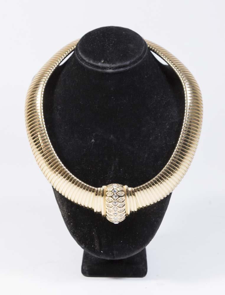 Christian Dior Gold Tone Omega Chain Choker