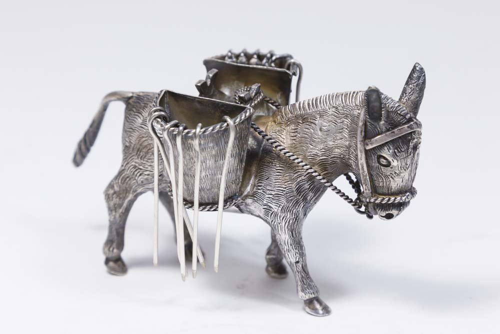 Sterling Silver Mexican Donkey Pick Holder - 2