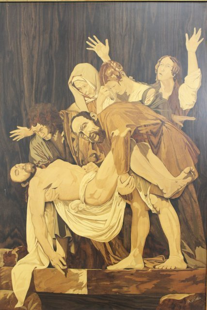 Inlaid Marquetry Wood Plaque, Death of Jesus