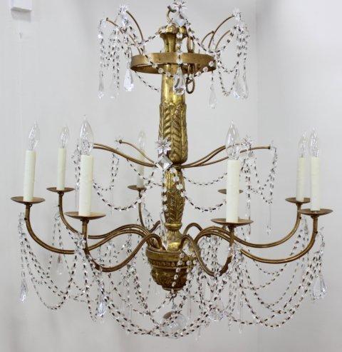 Neoclassic Style Giltwood Beaded Chandelier