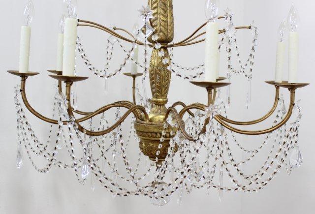 Neoclassic Style Giltwood Beaded Chandelier - 2